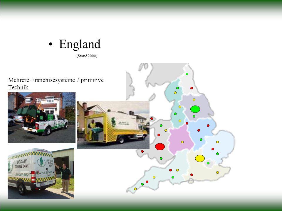 England (Stand 2000) Mehrere Franchisesysteme / primitive Technik