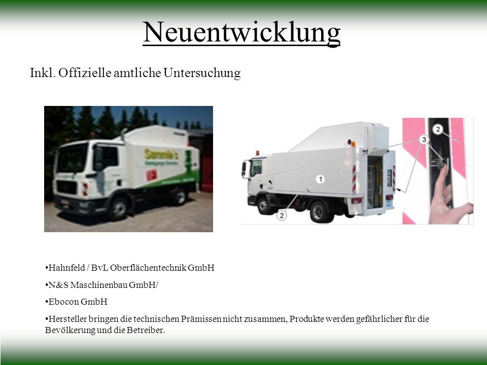 Inkl. Offizielle amtliche Untersuchung Neuentwicklung Hahnfeld / BvL Oberflächentechnik GmbH N&S Maschinenbau GmbH/ Ebocon GmbH Hersteller bringen die