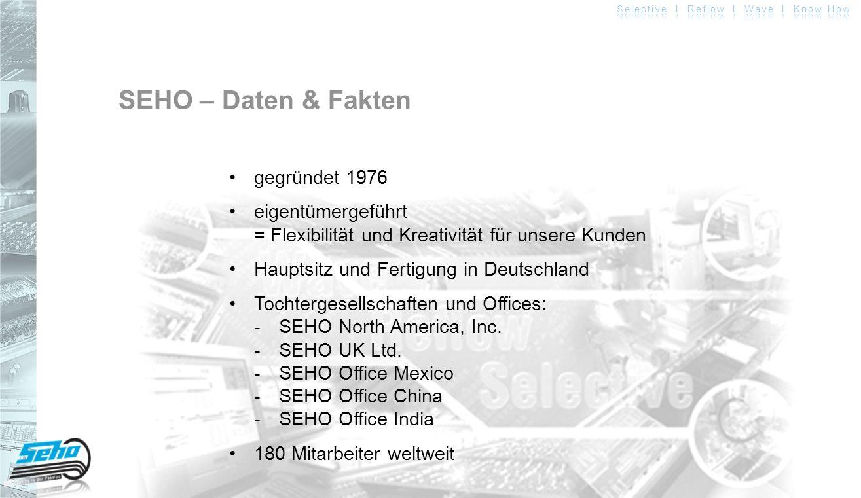 Headquarter SEHO Systems GmbH Deutschland Qualität Made in Germany 166 hervorragend ausgebildete Mitarbeiter 56 in technischen AbteilungenR & D, Fertigung und Service Support Center