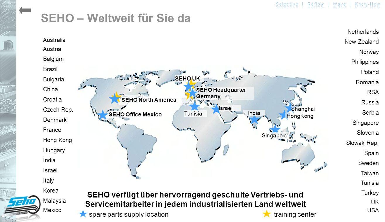 SEHO verfügt über hervorragend geschulte Vertriebs- und Servicemitarbeiter in jedem industrialisierten Land weltweit SEHO – Weltweit für Sie da Austra