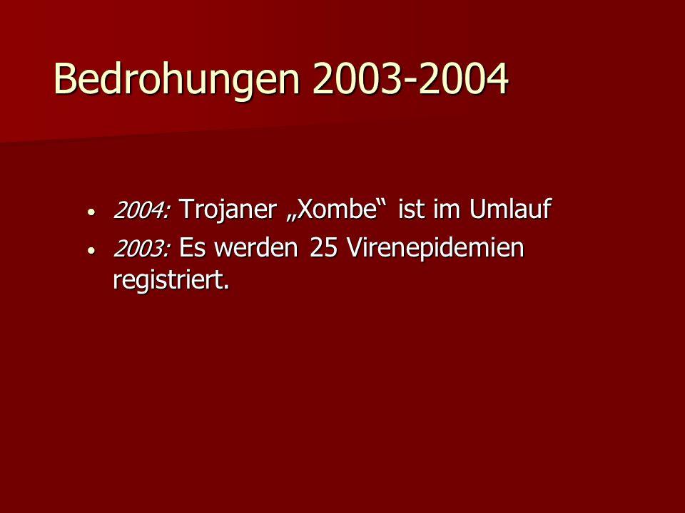 Bedrohungen 2003-2004 2004: Trojaner Xombe ist im Umlauf 2004: Trojaner Xombe ist im Umlauf 2003: Es werden 25 Virenepidemien registriert. 2003: Es we