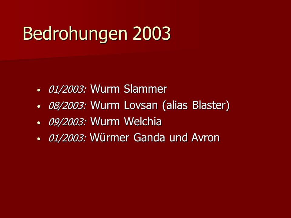 Bedrohungen 2003 01/2003: Wurm Slammer 01/2003: Wurm Slammer 08/2003: Wurm Lovsan (alias Blaster) 08/2003: Wurm Lovsan (alias Blaster) 09/2003: Wurm W