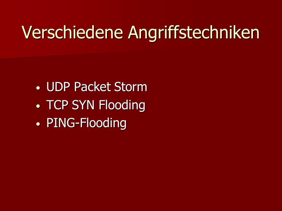 Verschiedene Angriffstechniken UDP Packet Storm UDP Packet Storm TCP SYN Flooding TCP SYN Flooding PING-Flooding PING-Flooding