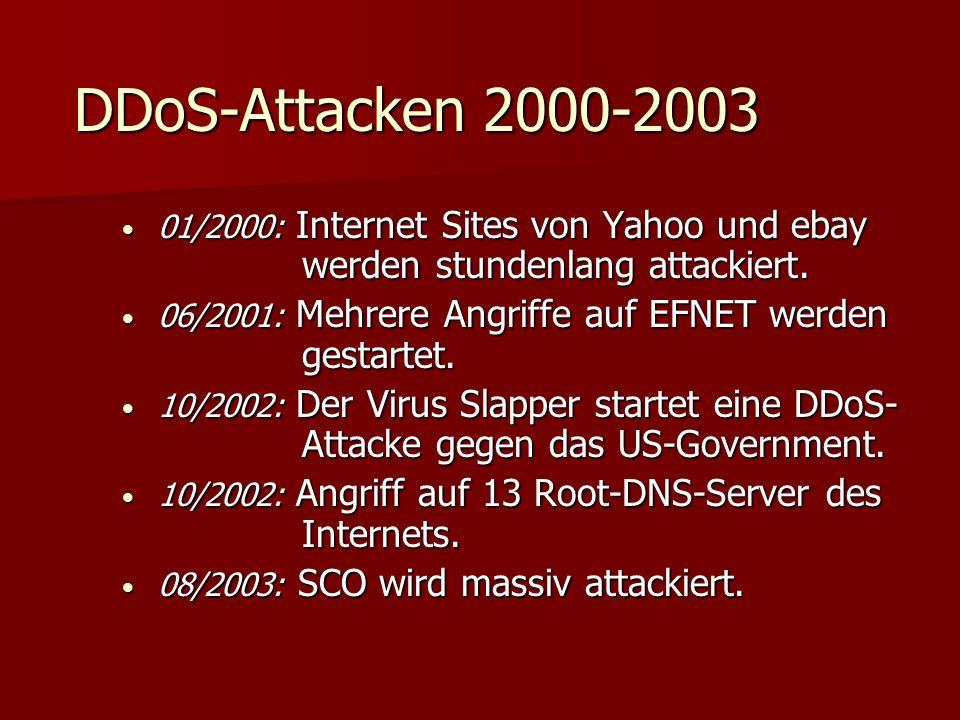 DDoS-Attacken 2000-2003 01/2000: Internet Sites von Yahoo und ebay werden stundenlang attackiert. 01/2000: Internet Sites von Yahoo und ebay werden st
