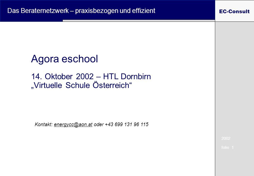 2002 folie 1 Das Beraternetzwerk – praxisbezogen und effizient EC-Consult Agora eschool 14. Oktober 2002 – HTL Dornbirn Virtuelle Schule Österreich Ko