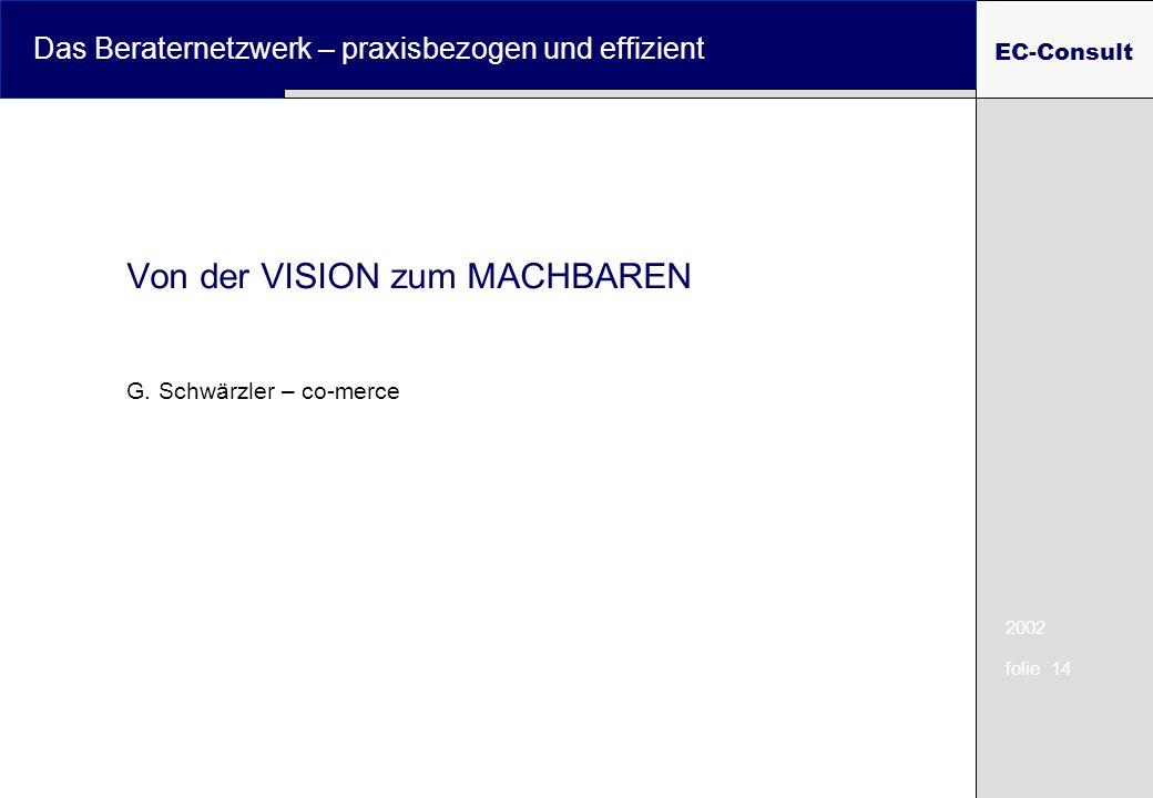 2002 folie 14 Das Beraternetzwerk – praxisbezogen und effizient EC-Consult Von der VISION zum MACHBAREN G. Schwärzler – co-merce
