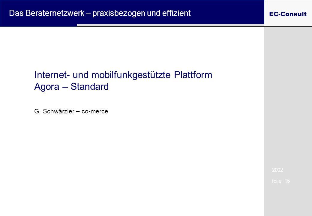 2002 folie 15 Das Beraternetzwerk – praxisbezogen und effizient EC-Consult Internet- und mobilfunkgestützte Plattform Agora – Standard G.