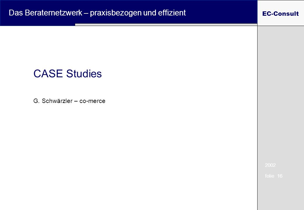 2002 folie 16 Das Beraternetzwerk – praxisbezogen und effizient EC-Consult CASE Studies G. Schwärzler – co-merce