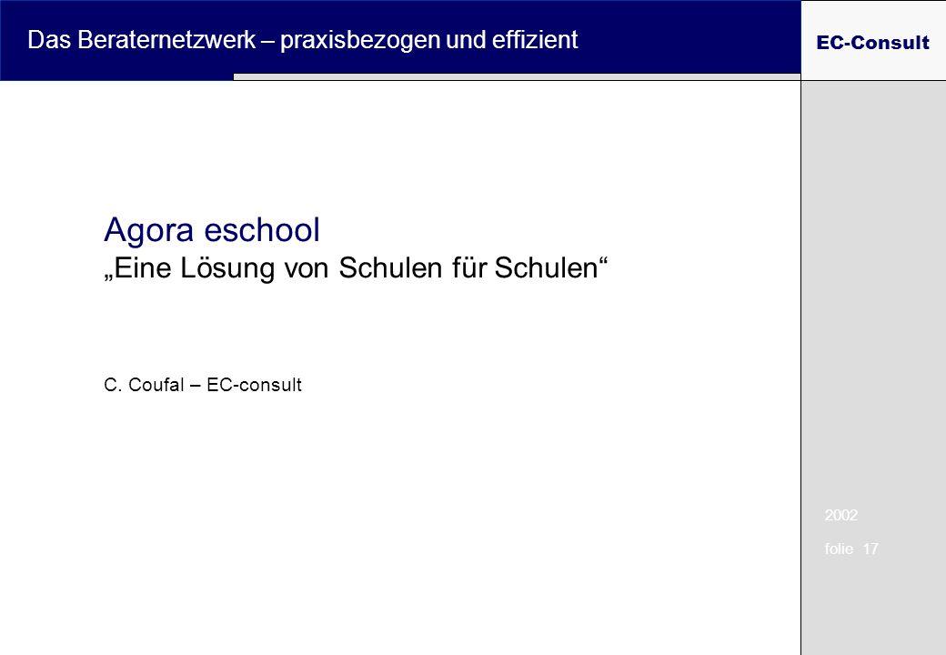 2002 folie 17 Das Beraternetzwerk – praxisbezogen und effizient EC-Consult Agora eschool Eine Lösung von Schulen für Schulen C. Coufal – EC-consult