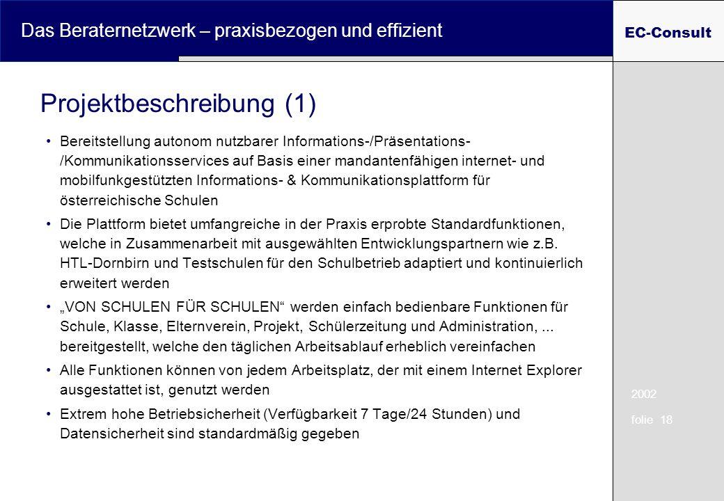 2002 folie 18 Das Beraternetzwerk – praxisbezogen und effizient EC-Consult Bereitstellung autonom nutzbarer Informations-/Präsentations- /Kommunikatio