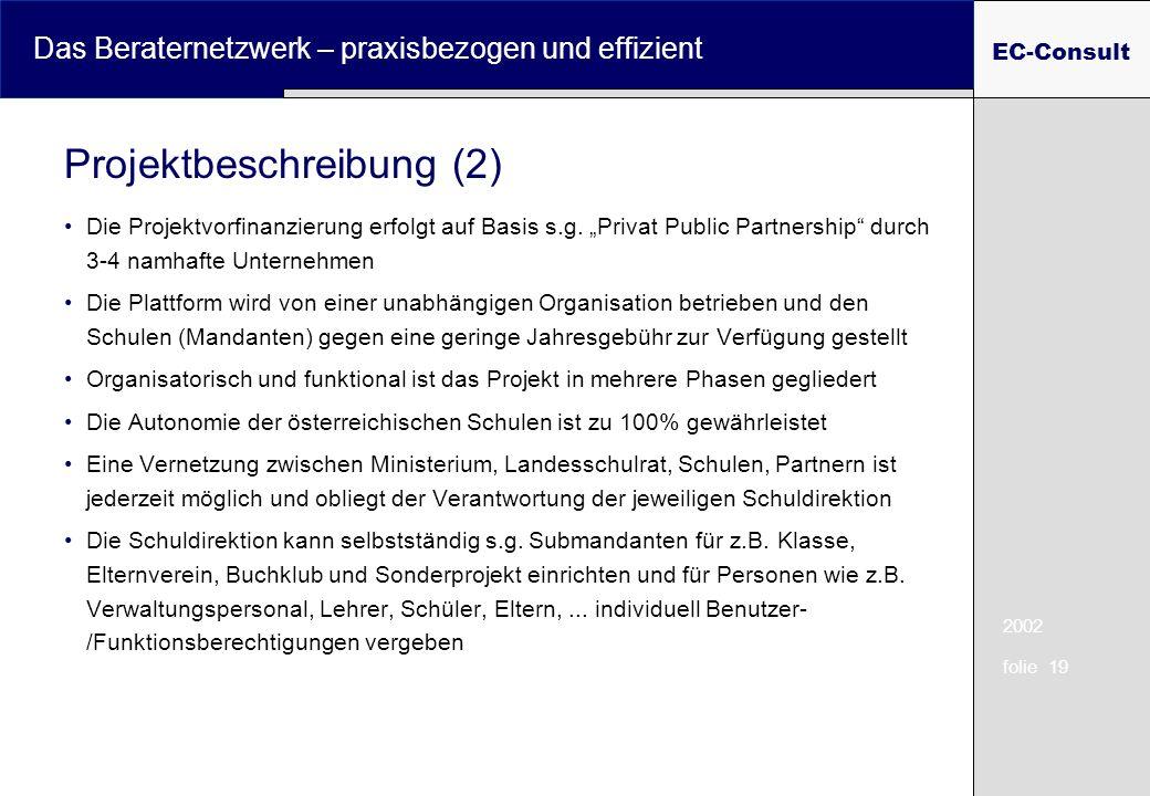 2002 folie 19 Das Beraternetzwerk – praxisbezogen und effizient EC-Consult Die Projektvorfinanzierung erfolgt auf Basis s.g. Privat Public Partnership