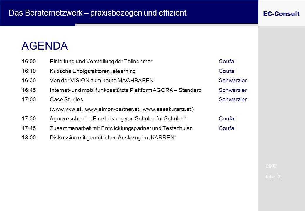2002 folie 2 Das Beraternetzwerk – praxisbezogen und effizient EC-Consult 16:00Einleitung und Vorstellung der TeilnehmerCoufal 16:10Kritische Erfolgsfaktoren elearning Coufal 16:30Von der VISION zum heute MACHBARENSchwärzler 16:45Internet- und mobilfunkgestützte Plattform AGORA – StandardSchwärzler 17:00Case Studies Schwärzler (www.vkw.at, www.simon-partner.at, www.assekuranz.at )www.vkw.atwww.simon-partner.atwww.assekuranz.at 17:30Agora eschool – Eine Lösung von Schulen für SchulenCoufal 17:45Zusammenarbeit mit Entwicklungspartner und TestschulenCoufal 18:00Diskussion mit gemütlichen Ausklang im KARREN AGENDA