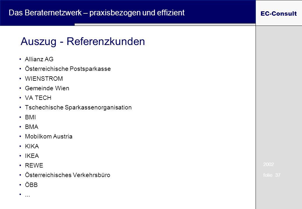 2002 folie 37 Das Beraternetzwerk – praxisbezogen und effizient EC-Consult Auszug - Referenzkunden Allianz AG Österreichische Postsparkasse WIENSTROM