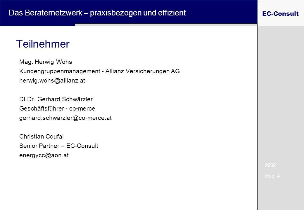 2002 folie 4 Das Beraternetzwerk – praxisbezogen und effizient EC-Consult Teilnehmer Mag. Herwig Wöhs Kundengruppenmanagement - Allianz Versicherungen
