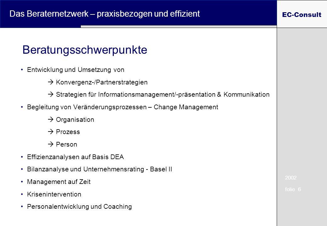 2002 folie 6 Das Beraternetzwerk – praxisbezogen und effizient EC-Consult Beratungsschwerpunkte Entwicklung und Umsetzung von Konvergenz-/Partnerstrat