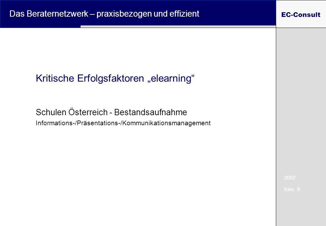 2002 folie 8 Das Beraternetzwerk – praxisbezogen und effizient EC-Consult Kritische Erfolgsfaktoren elearning Schulen Österreich - Bestandsaufnahme Informations-/Präsentations-/Kommunikationsmanagement