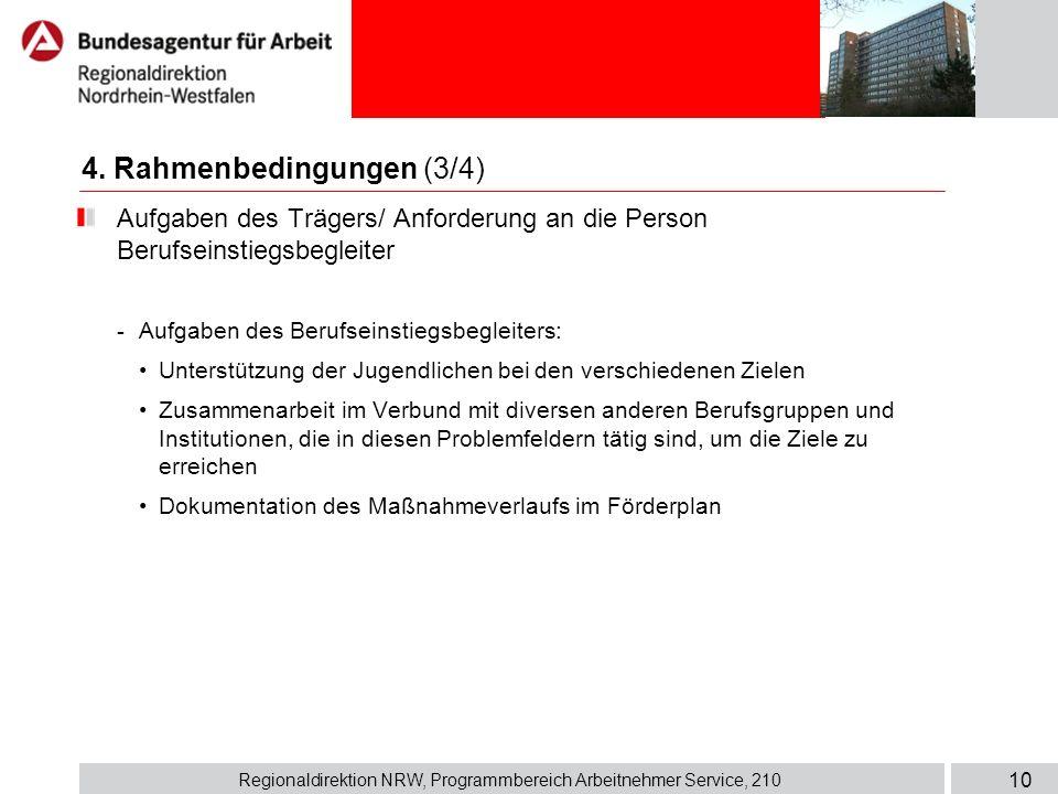 Regionaldirektion NRW, Programmbereich Arbeitnehmer Service, 210 10 Aufgaben des Trägers/ Anforderung an die Person Berufseinstiegsbegleiter - Aufgabe