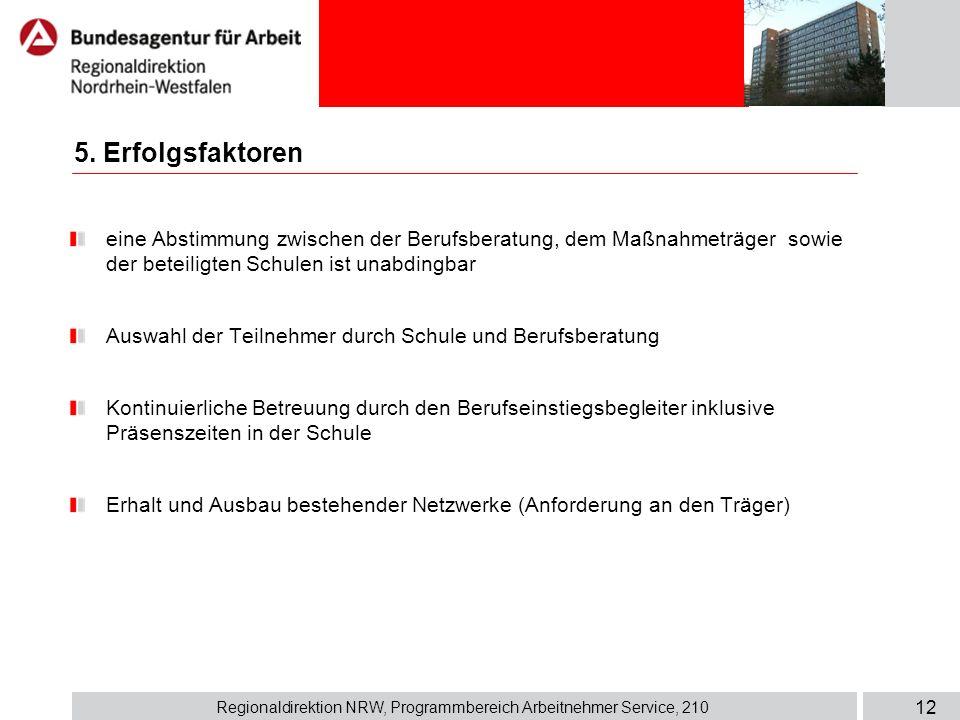 Regionaldirektion NRW, Programmbereich Arbeitnehmer Service, 210 12 eine Abstimmung zwischen der Berufsberatung, dem Maßnahmeträger sowie der beteilig