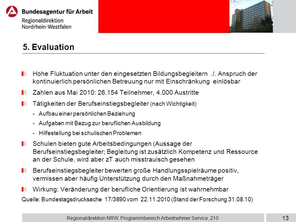 Regionaldirektion NRW, Programmbereich Arbeitnehmer Service, 210 13 Hohe Fluktuation unter den eingesetzten Bildungsbegleitern./. Anspruch der kontinu