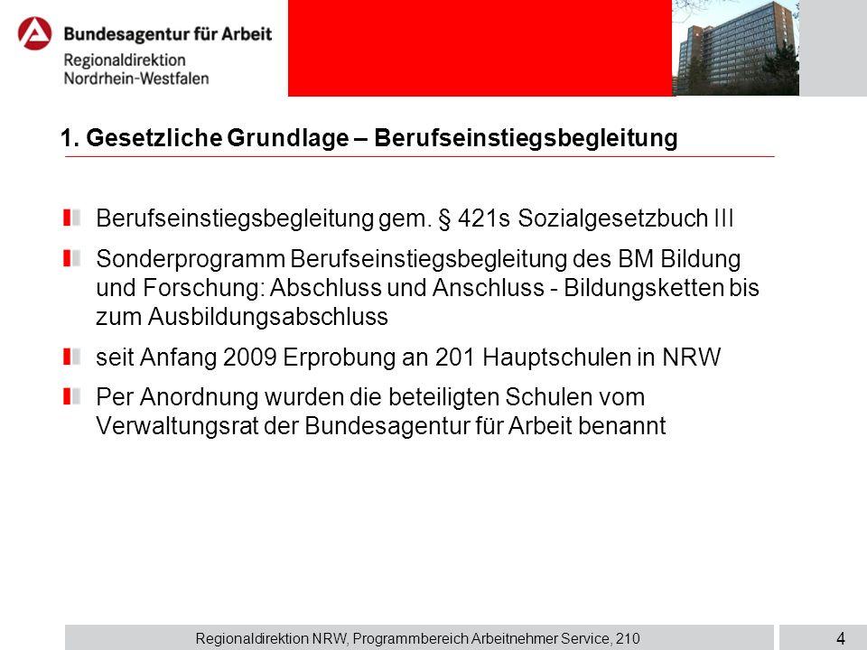 Regionaldirektion NRW, Programmbereich Arbeitnehmer Service, 210 4 1. Gesetzliche Grundlage – Berufseinstiegsbegleitung Berufseinstiegsbegleitung gem.