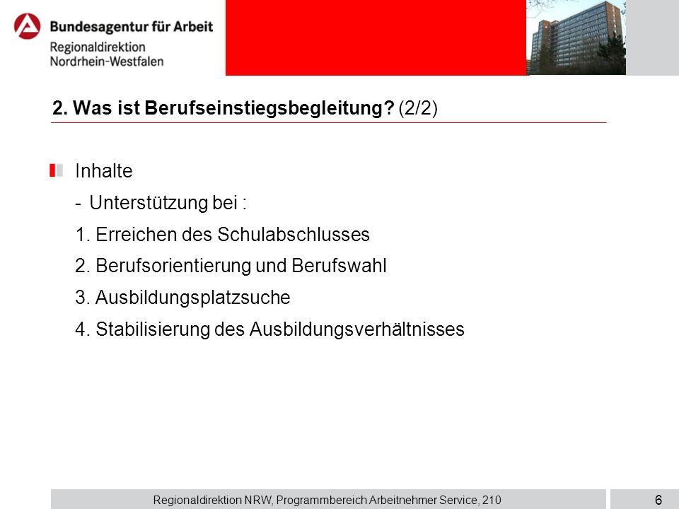 Regionaldirektion NRW, Programmbereich Arbeitnehmer Service, 210 6 Inhalte - Unterstützung bei : 1. Erreichen des Schulabschlusses 2. Berufsorientieru