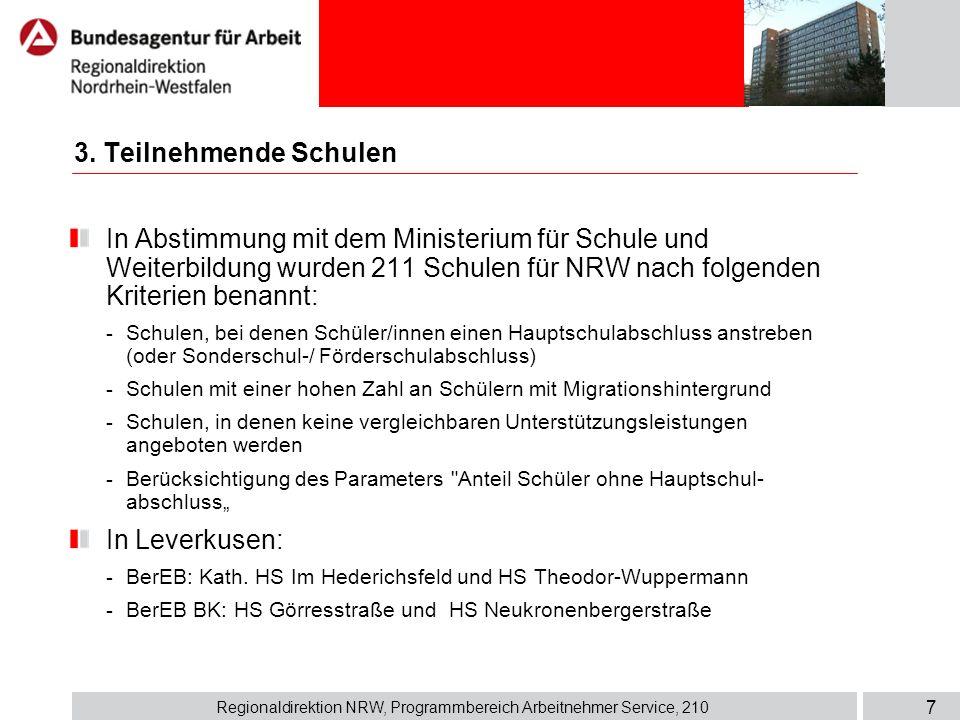 Regionaldirektion NRW, Programmbereich Arbeitnehmer Service, 210 7 3. Teilnehmende Schulen In Abstimmung mit dem Ministerium für Schule und Weiterbild