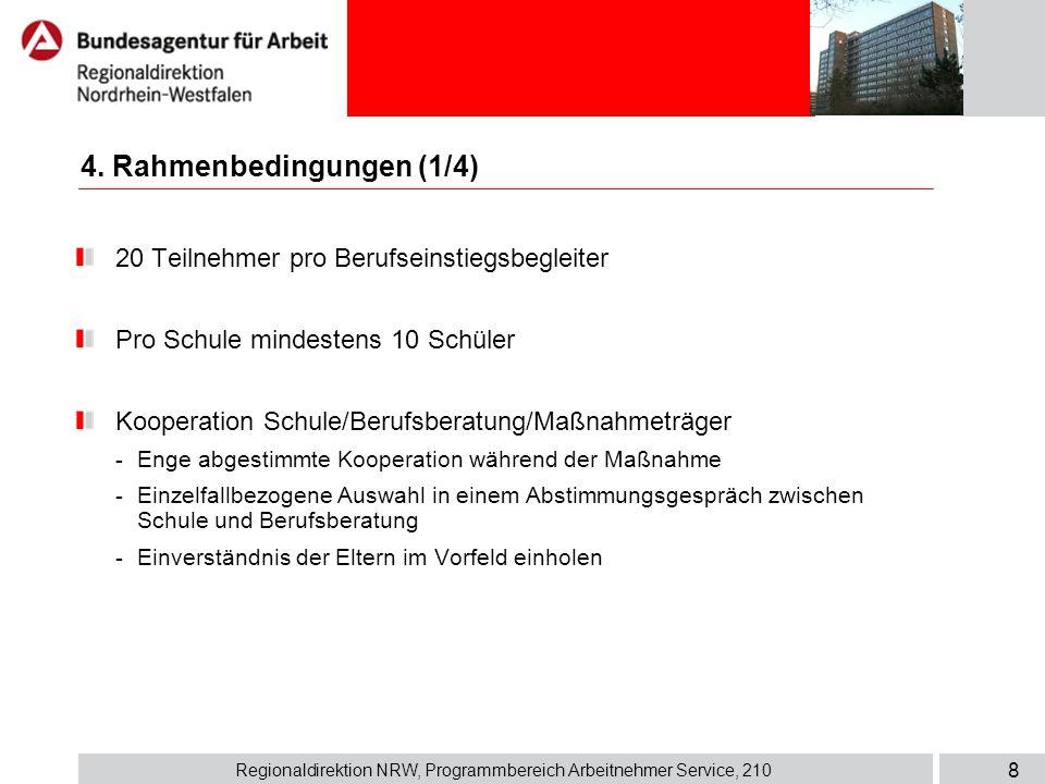 Regionaldirektion NRW, Programmbereich Arbeitnehmer Service, 210 8 4. Rahmenbedingungen (1/4) 20 Teilnehmer pro Berufseinstiegsbegleiter Pro Schule mi
