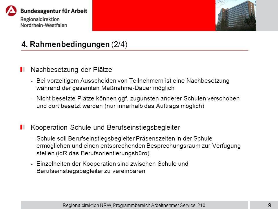 Regionaldirektion NRW, Programmbereich Arbeitnehmer Service, 210 9 Nachbesetzung der Plätze - Bei vorzeitigem Ausscheiden von Teilnehmern ist eine Nac