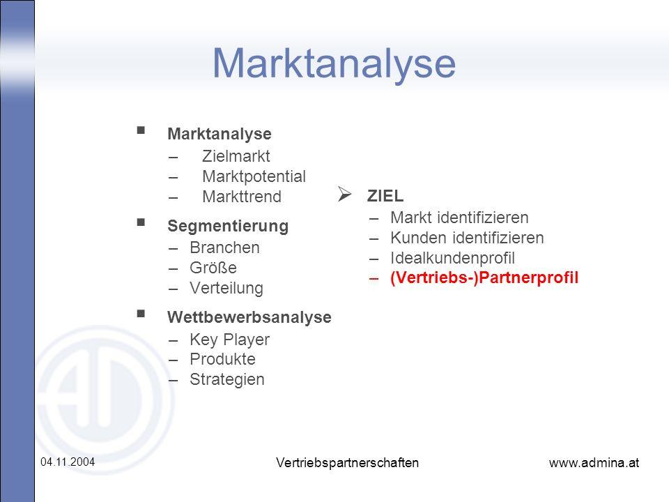 www.admina.at 04.11.2004 Vertriebspartnerschaften Marktanalyse –Zielmarkt –Marktpotential –Markttrend Segmentierung –Branchen –Größe –Verteilung Wettb