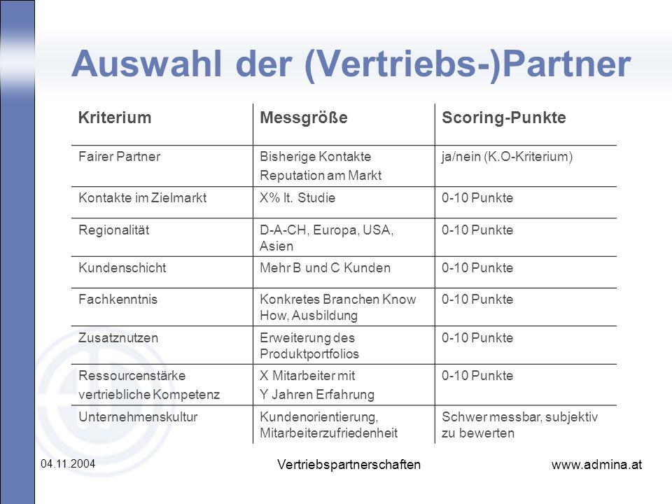 www.admina.at 04.11.2004 Vertriebspartnerschaften Auswahl der (Vertriebs-)Partner KriteriumMessgrößeScoring-Punkte Fairer PartnerBisherige Kontakte Re