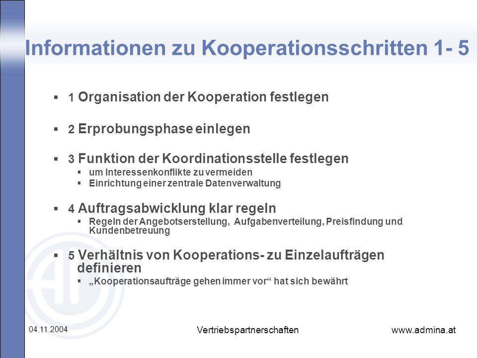 www.admina.at 04.11.2004 Vertriebspartnerschaften Informationen zu Kooperationsschritten 1- 5 1 Organisation der Kooperation festlegen 2 Erprobungspha