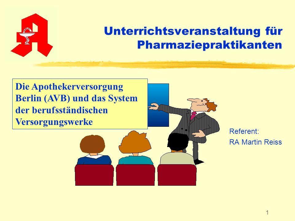 1 Unterrichtsveranstaltung für Pharmaziepraktikanten Referent: RA Martin Reiss Die Apothekerversorgung Berlin (AVB) und das System der berufsständisch