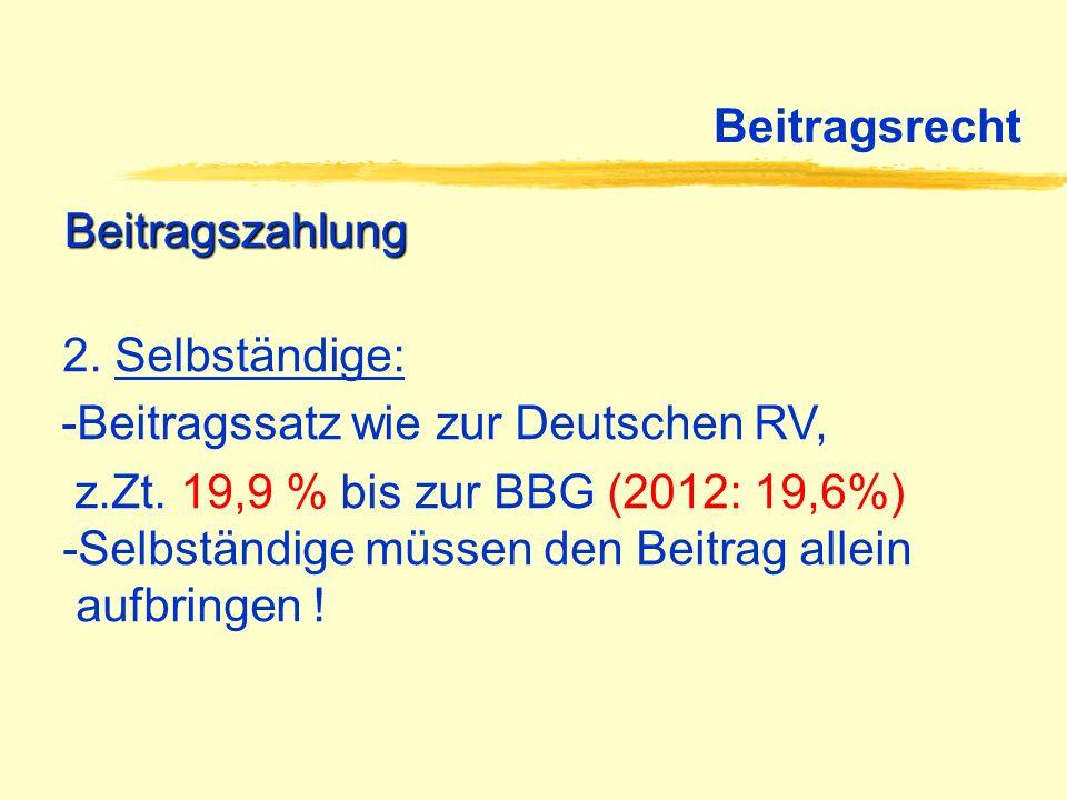 Beitragsrecht Beitragszahlung 2. Selbständige: -Beitragssatz wie zur Deutschen RV, z.Zt. 19,9 % bis zur BBG (2012: 19,6%) -Selbständige müssen den Bei
