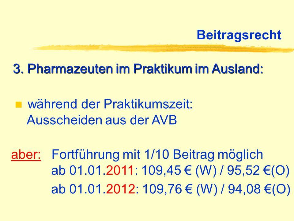 Beitragsrecht 3. Pharmazeuten im Praktikum im Ausland: während der Praktikumszeit: Ausscheiden aus der AVB aber: Fortführung mit 1/10 Beitrag möglich