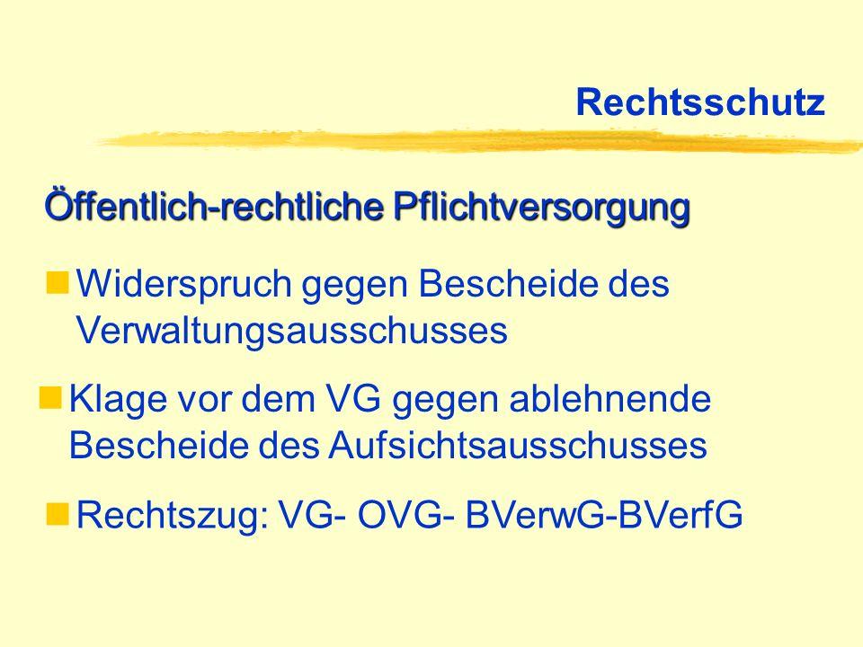 Rechtsschutz Öffentlich-rechtliche Pflichtversorgung Widerspruch gegen Bescheide des Verwaltungsausschusses Klage vor dem VG gegen ablehnende Bescheid