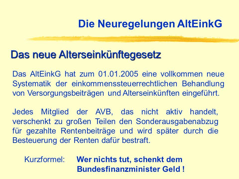 Das AltEinkG hat zum 01.01.2005 eine vollkommen neue Systematik der einkommenssteuerrechtlichen Behandlung von Versorgungsbeiträgen und Alterseinkünft
