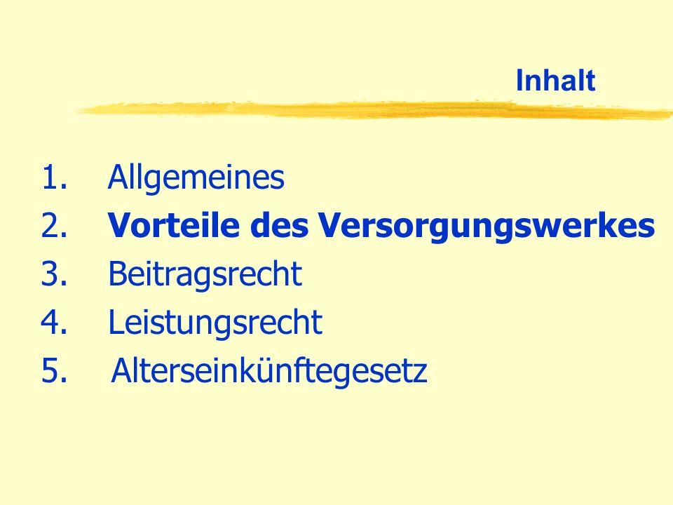 Beitragsrecht Beitragszahlung 1.Angestellte: - gleicher Beitragssatz wie zur Deutschen RV, z.Zt.