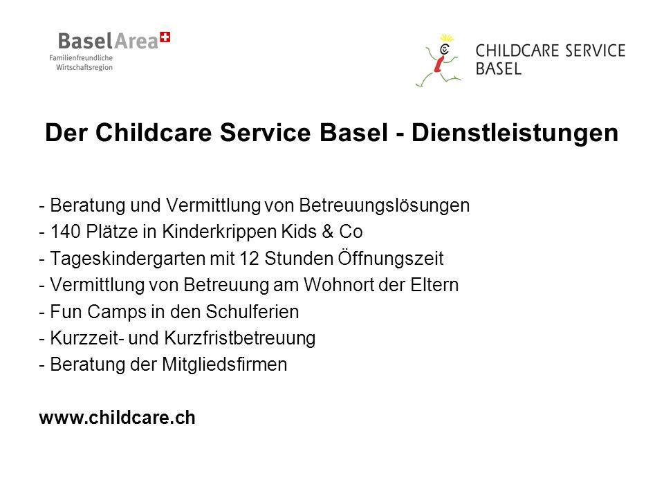 Der Childcare Service Basel - Dienstleistungen - Beratung und Vermittlung von Betreuungslösungen - 140 Plätze in Kinderkrippen Kids & Co - Tageskindergarten mit 12 Stunden Öffnungszeit - Vermittlung von Betreuung am Wohnort der Eltern - Fun Camps in den Schulferien - Kurzzeit- und Kurzfristbetreuung - Beratung der Mitgliedsfirmen www.childcare.ch