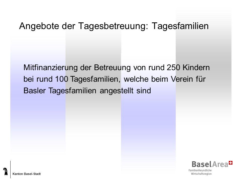 Kanton Basel-Stadt Angebote der Tagesbetreuung: Tagesfamilien Mitfinanzierung der Betreuung von rund 250 Kindern bei rund 100 Tagesfamilien, welche beim Verein für Basler Tagesfamilien angestellt sind