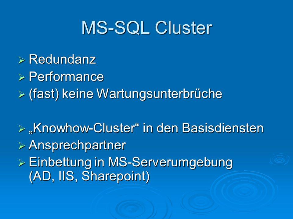 MS-SQL Cluster Redundanz Redundanz Performance Performance (fast) keine Wartungsunterbrüche (fast) keine Wartungsunterbrüche Knowhow-Cluster in den Ba