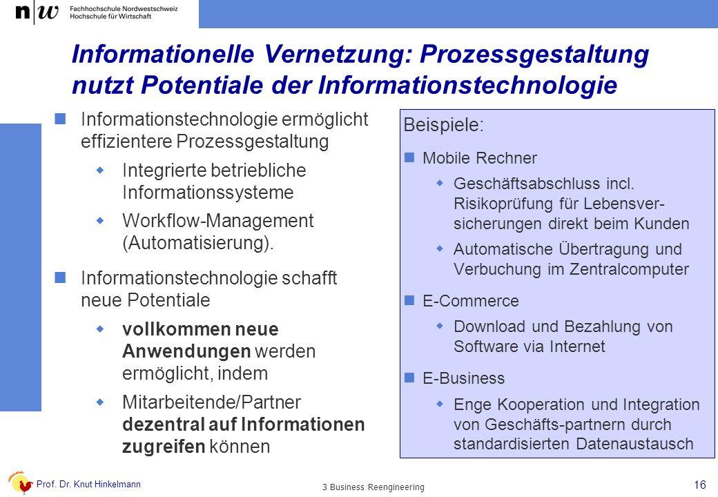 Prof. Dr. Knut Hinkelmann 16 3 Business Reengineering Informationelle Vernetzung: Prozessgestaltung nutzt Potentiale der Informationstechnologie Infor