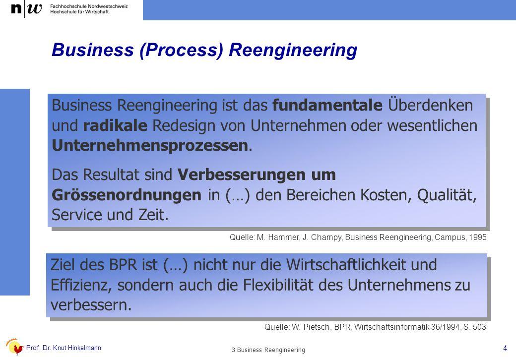Prof. Dr. Knut Hinkelmann 4 3 Business Reengineering Business Reengineering ist das fundamentale Überdenken und radikale Redesign von Unternehmen oder