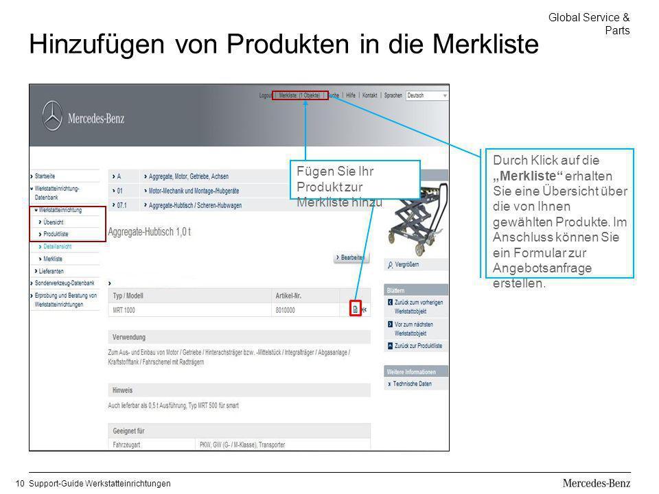 Global Service & Parts Support-Guide Werkstatteinrichtungen10 Hinzufügen von Produkten in die Merkliste Fügen Sie Ihr Produkt zur Merkliste hinzu Durc