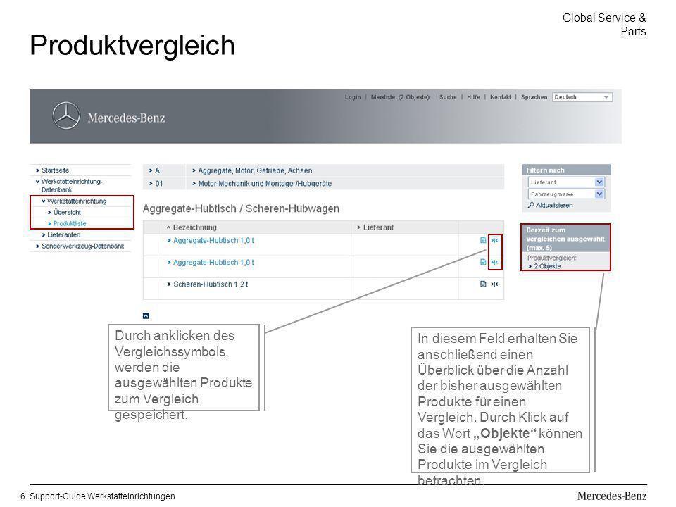 Global Service & Parts Support-Guide Werkstatteinrichtungen6 Produktvergleich Durch anklicken des Vergleichssymbols, werden die ausgewählten Produkte
