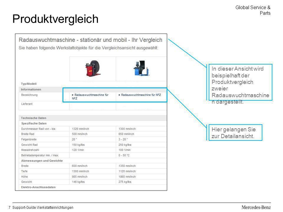 Global Service & Parts Support-Guide Werkstatteinrichtungen7 Produktvergleich In dieser Ansicht wird beispielhaft der Produktvergleich zweier Radauswu