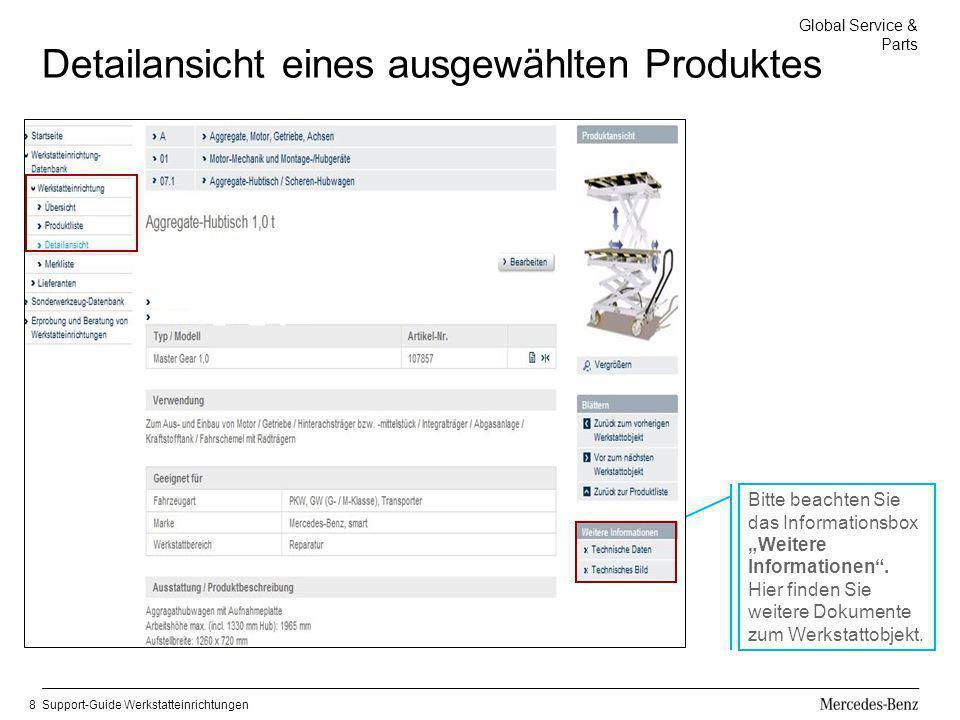 Global Service & Parts Support-Guide Werkstatteinrichtungen8 Detailansicht eines ausgewählten Produktes Bitte beachten Sie das Informationsbox Weitere