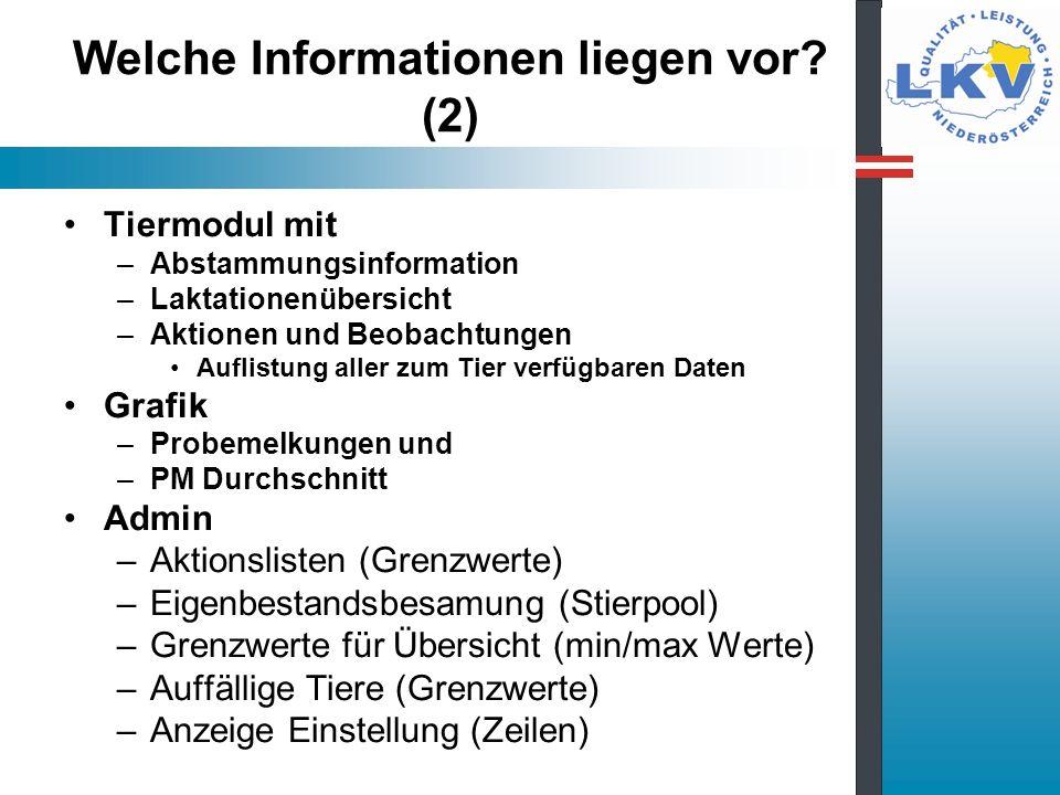 Welche Informationen liegen vor? (2) Tiermodul mit –Abstammungsinformation –Laktationenübersicht –Aktionen und Beobachtungen Auflistung aller zum Tier