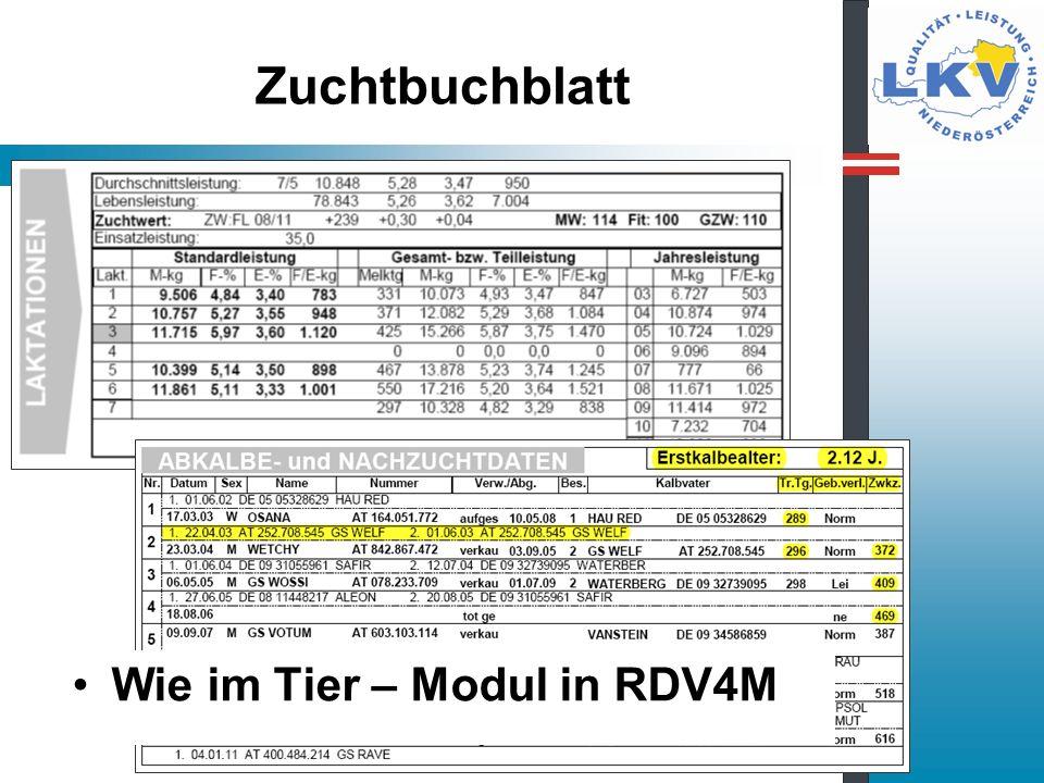 Zuchtbuchblatt Wie im Tier – Modul in RDV4M