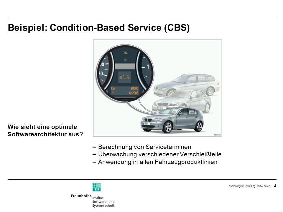 4 Beispiel: Condition-Based Service (CBS) –Berechnung von Serviceterminen –Überwachung verschiedener Verschleißteile –Anwendung in allen Fahrzeugprodu