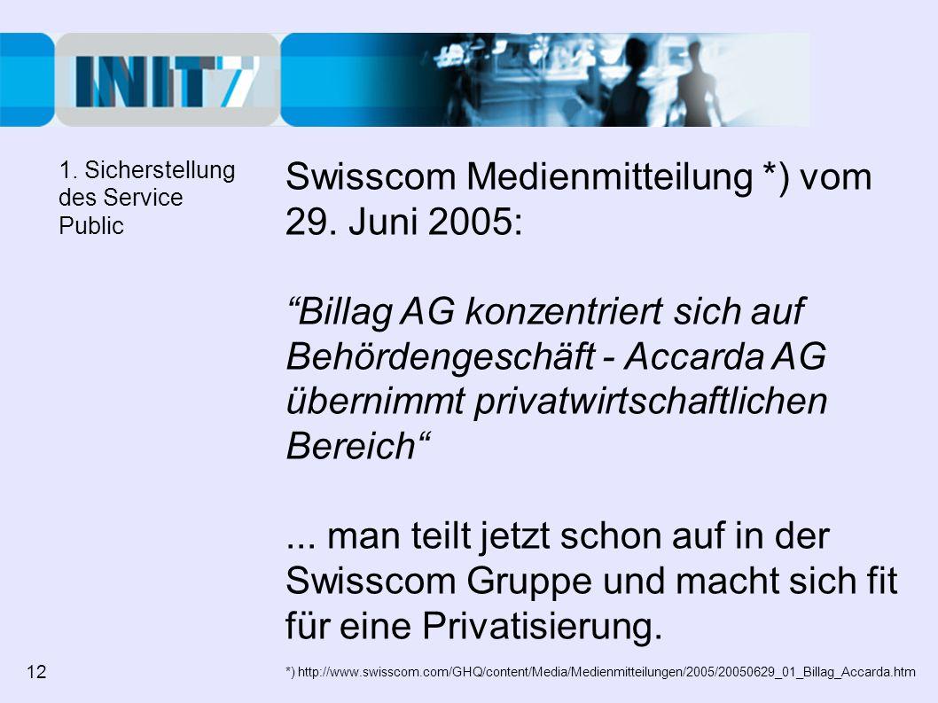 Swisscom Medienmitteilung *) vom 29. Juni 2005: Billag AG konzentriert sich auf Behördengeschäft - Accarda AG übernimmt privatwirtschaftlichen Bereich